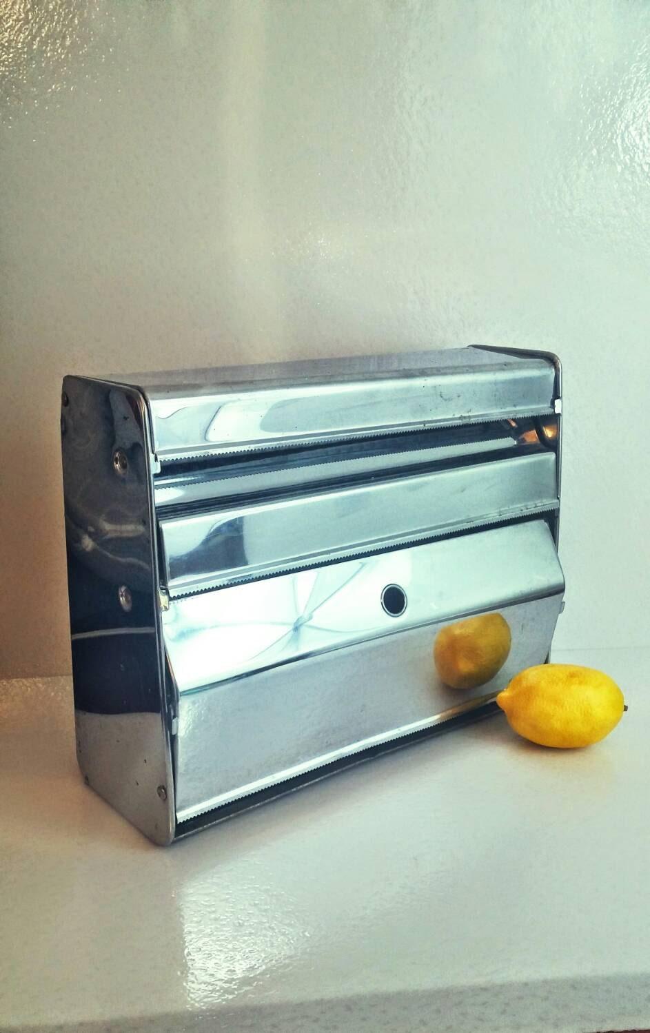 Vintage Foil Wax Paper And Plastic Wrap Dispenser Chrome Wall