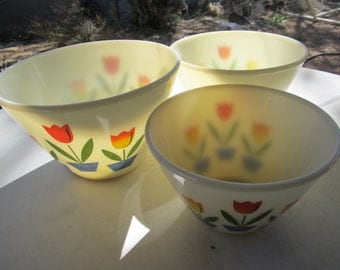 Fire King Tulip Bowls Set of 3