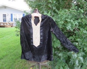 "Vintage 1920s black velvet Flapper blouse tunic top silk 38"" bust cream lace long sleeve waist 39"" hips 41"""