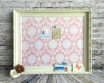 Bulletin board - framed magnetic board - shabby chic decor - message board
