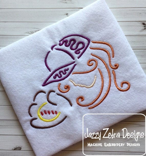 Girl softball player satin stitch outline embroidery design