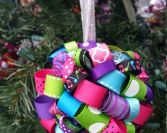 Music Lover Ribbon Topiary-style Ornament - Great for the Holidays, for a gift for your favorite music fan!  In bright 80s colors.