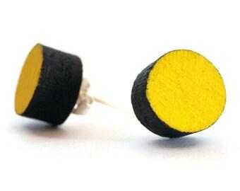 Fluorescent yellow stud earrings,glow in the dark jewelry,laser cut wood,button ear studs,round stud earrings handmade,circle earrings
