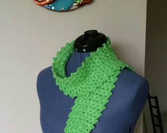 Crochet Three-Round Scarf in Limelight Green