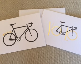 Bicycle Greeting Card Assortment - You Only Live Once, Let's Ride, Cycling, Road bike, YOLO