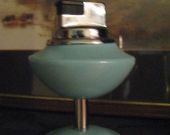Wonderful Aqua Vintage 1960's Table Lighter Mid-Century Fabulous!
