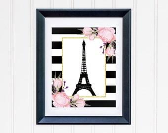 Ooh La La Paris Art Print, Eiffel Tower Art Print, Stripes and Flowers Art Print, Item 262