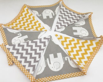 Handmade fabric bunting, elephant, chevron, grey and yellow colours, unisex gender neutral baby nursery banner flag modern bunting