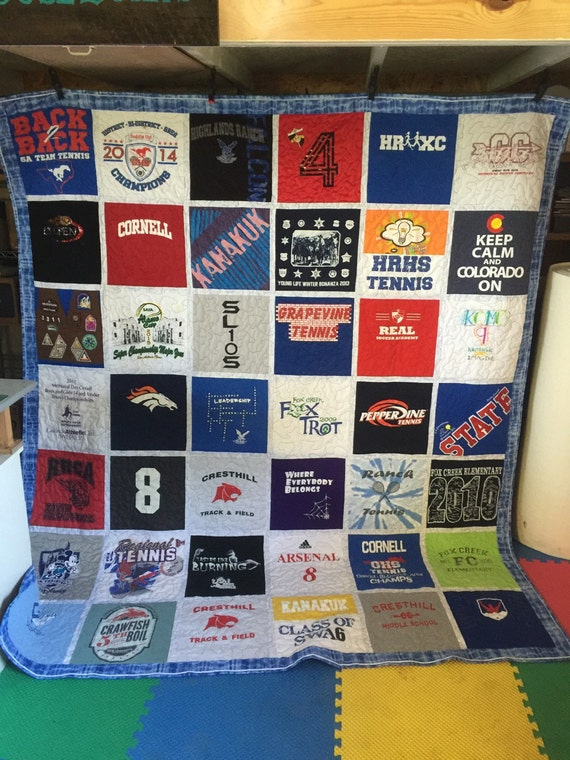 T Shirt Quilt Pattern Queen : Queen Quilt Custom Made Memory Quilt Made by DallasHouseQuilts