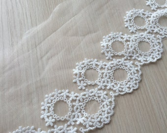 """2 yards Lace Trim Retro Ivory Cotton Circles Embroidery Tulle Lace Trims 5.11"""" Wide"""