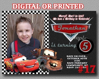 Disney Cars Invitation YOU Print Digital File or PRINTED Lightning McQueen Mater Birthday Party Invitation