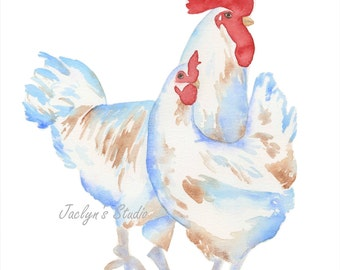 """Watercolor Chickens 8""""x10"""" Giclee Print, Watercolor Sketch, Watercolor Rooster Chicken Painting, Bird painting, Chicken Art, Farmhouse Decor"""