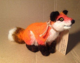 Needle felted fox sculpture - handmade wool fox