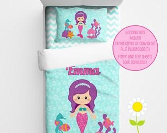 Personalized Mermaid Bedding Set - Mermaid Duvet Cover or Comforter - Personalized Duvet Set for Girls - Custom Kids' Comforter