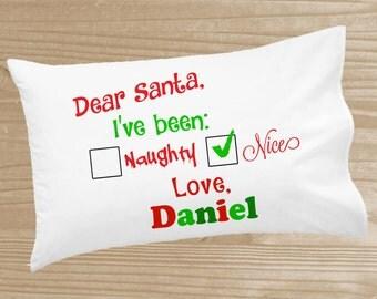 Personalized Christmas Pillowcase - Naughty or Nice Pillowcase for Kids - Christmas Holiday Pillow Case - Custom Christmas Pillow Slip