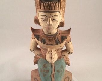 Vintage Balinese Wooden Praying Kneeling Statue Hindu God Figure