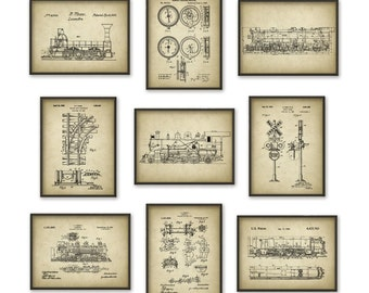 Railroad Patent Posters Set Of 9 - Locomotive Patent Prints - Train Wall Art Prints - Vintage Trains - Steam Railway Trains - Railroad Track