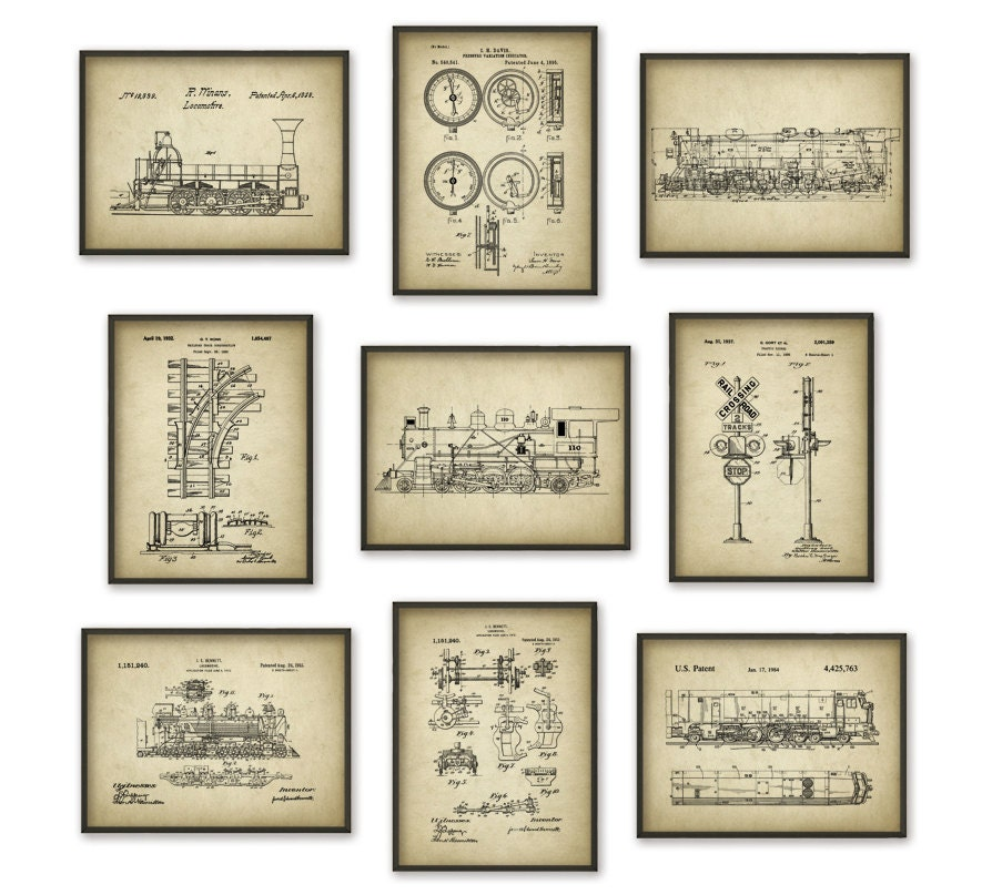 Railroad patent posters set of 9 locomotive patent prints for Vintage train posters