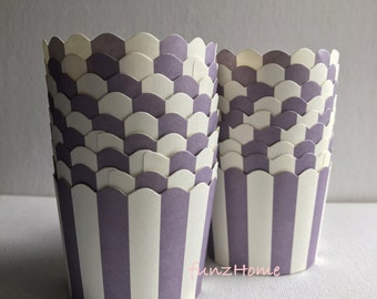20 pcs Purple with white stripe color party Paper Muffin Cups Baking Cups Candy Nut Popcorn Cups Ice-cream Cups