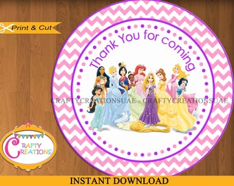 INSTANT DOWNLOAD - Disney Princesses Favor Tags - Sticker-Party Tags-Thank You Tags- Gift Tags- Birthday - Printable - CraftyCrearionsUAE