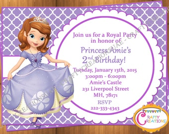 Sofia the First Invitation - Princess Sofia Birthday Party Invite - Sofia Birthday Invitation - Sofia the First Invite -CraftyCreationsUAE