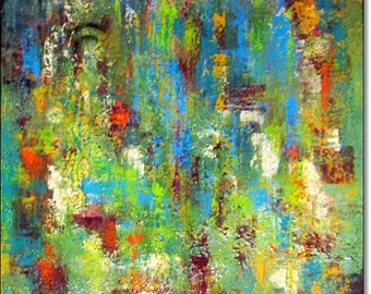 Canvas Art Acrylic Painting Abstract ORIGINAL CONTEMPORARY ART Abstract Textured Landscape Painting Green Blue 24x24x1,5 (60cmx60cmx3,6cm)