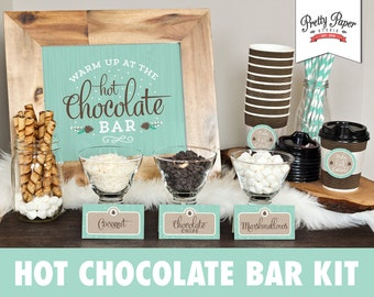 Hot Chocolate Bar Printable Kit // INSTANT DOWNLOAD // Hot Cocoa Party // Sign, Labels, Cup Tags // BS04 bp04