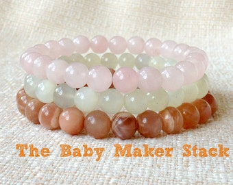 The Baby Maker Fertility Bracelet Stack, Fertility Jewelry, Healing Crystals, Infertility Gift, Trying To Conceive, Moonstone + Rose Quartz