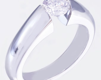 14k White Gold Round Cut Diamond Engagement Ring Tension Set Solitaire 0.80ct