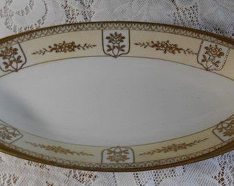 Antique Hand Painted Noritake  Handled Serving Dish with Gold Trim