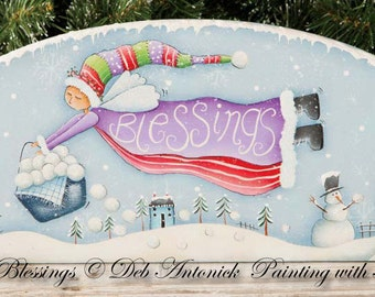 Snowball Blessings - by Deb Antonick, Painting With Friends E Pattern.( Originally published by Artist Club 12 Days of Christmas 2015.)