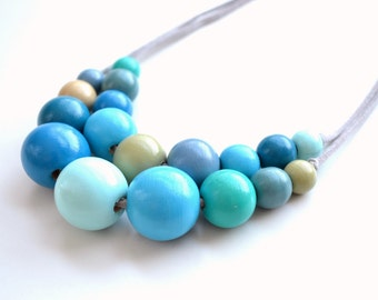 Wooden bead necklace,wooden necklace,beaded necklace,handpainted necklace,turquoise necklace,blue necklace,teal necklace,green necklace