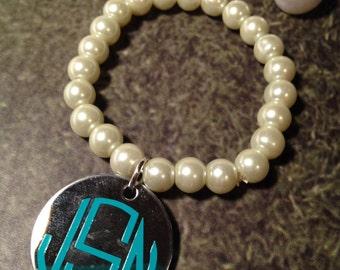 Monogram Bracelet, Pearl Bracelet, Bracelet, Monogram Jewelry, Stretch Bracelet, Pearls, Silver