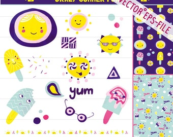 Popsicle Clipart Commercial Vector Sun Summer Digital Download  Digital Images Handdrawn