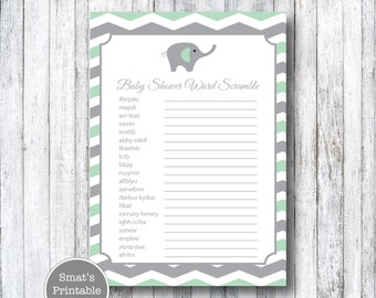 Mint Green Elephant Baby Shower Word Scramble Game Cards - PRINTABLE Chevron Theme - Instant Download - Baby Shower Games - Gray Grey