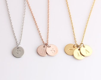 Gold Round Discs Necklace - Delicate Monogram Pendant - Bridesmaid Gift Necklace - Gift for Her