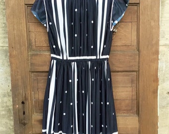 Vintage 60's Semi Sheer Black and White Polka Dot and Stripes Dress
