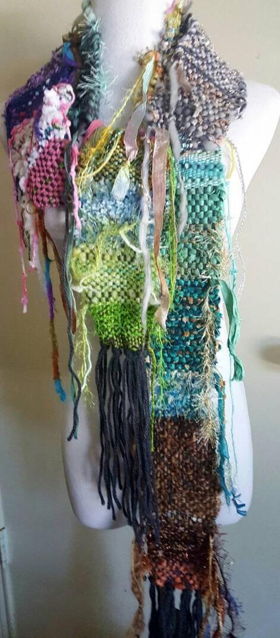 Hand woven Saori inspired scarf.