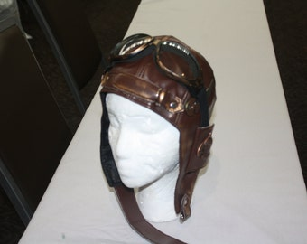 """Steampunk """"Airship"""" Aviator cap with goggles"""