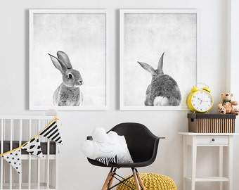 Baby Animal Nursery Art Modern Nursery Prints Cute Nursery Decor Rabbit Tail Print Animal Portrait Bunny Print Animal Photography Baby Room