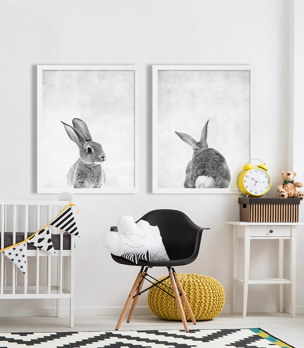 Baby animal nursery art modern nursery prints cute nursery for Modern baby nursery