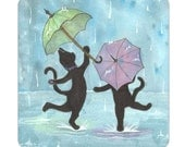 Magnet, 2 inches x 2 inches, rounded corners, fridge, Shadow Kitties Dancing in the Rain Perfect Small Gift