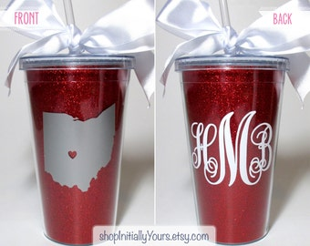Ohio State Tumbler, Monogram State Glitter Gameday Tailgate Cup, OSU, The Ohio State University, College, Scarlet & Grey