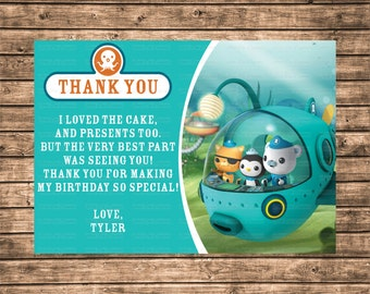 Customized Octonauts 4x6 or 5x7 Birthday Party Thank You Card - Digital File or Printed Copies