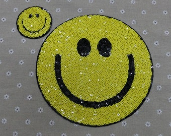 Smile sequined patch happy smile embroidered patch sew on or iron on applique patch