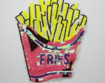 Gold fries applique patch Sequined vintage embroidered patch T-shirt or Coat decoration patch