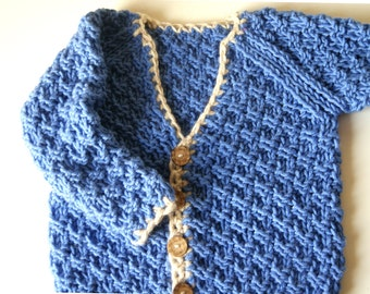 Knit boys sweater, blue toddler boy sweater, blue knit sweater