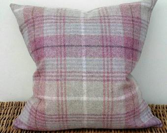"16"" Torrin Plaid Candy 100% Wool Luxurious Tartan Tweed Cushion Cover Fabric by Moon for M&S and Art of the Loom Herringbone"