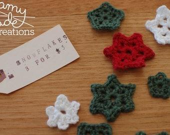 Christmas Snowflakes 3 pack / Christmas Decorations / Table Decorations / Home Decor / Christmas Decor / Snow / Xmas / Holiday / Crochet