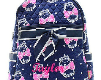 Monogram Quilted Backpack  Mason Jar Quilted Backpack  Monogrammed Backpack